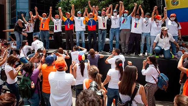 Marcha en Venezuela, mostrando apoyo a Leopoldo López. (EFE)