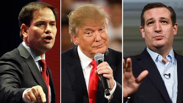 Los candidatos republicanos Marco Rubio, Donal Trump y Ted Cruz.
