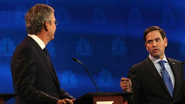 Marco Rubio y Jeb Bush en el último debate de los candidatos presidenciales por el Partido Republicano. (CNBC)