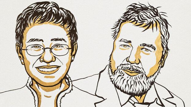 Maria Ressa y Dmitry Muratov han obtenido el premio por su defensa de la democracia y la libertad de expresión. (Nobel Prize)