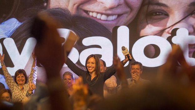 María Eugenia Vidal celebra este domingo el resultado electoral junto a sus seguidores. (@mariuvidal)