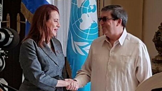María Fernanda Espinosa junto a Bruno Rodríguez este jueves.(UN_PGA)