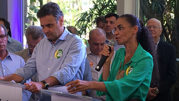 Marina Silva y Aécio Neves. (Fuente: Facebook)