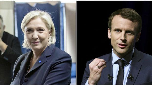 Los candidatos a las elecciones francesas, Marine Le Pen y Emmanuel Macron. (EFE)