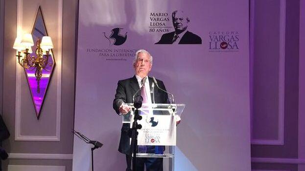 Mario Vargas Llosa en el discurso de la celebración de su 80 cumpleaños. (14ymedio/Archivo)
