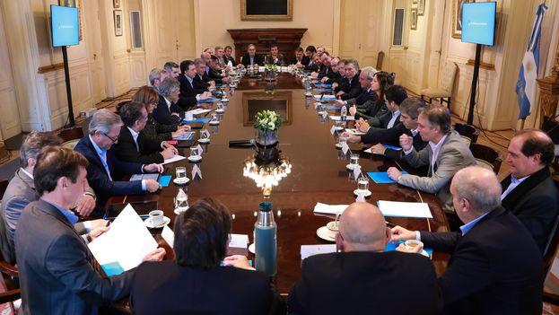 Mauricio Macri mantuvo el pasado martes una reunión con su gabinete en la Casa Rosada para hablar de la situación económica. (@mauriciomacri)