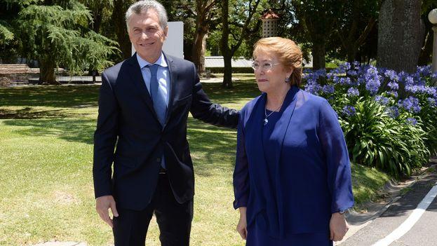 Mauricio Macri junto a Michele Bachelet este viernes en la reunión bilateral. (@mbachelet)