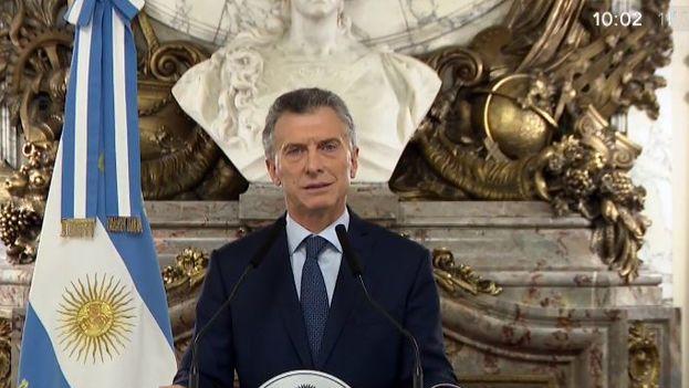 Mauricio Macri anunciando las reformas que realizará en su gabinete para reducir gastos. (Captura)
