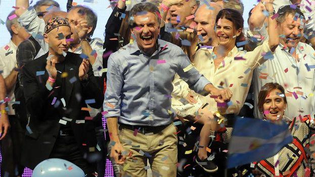 Mauricio Macri celebrando su victoria electoral. (Twitter/@mauriciomacri)