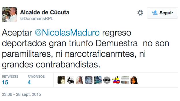Mensaje del alcalde de Cúcuta en la red social Twitter sobre la decisión de Maduro de aceptar el regreso de los deportados