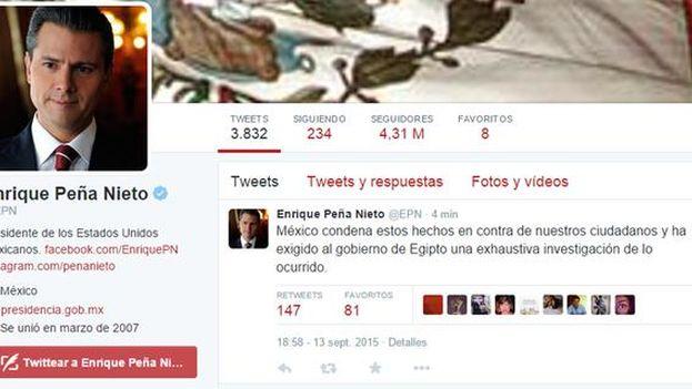 Mensaje de Enrique Peña Nieto exigiendo explicaciones a Egipto por el asesinato de 12 mexicanos en el país. (@EPN)
