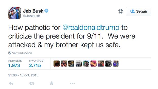 Mensaje en Twitter de Jeb Bush calificando de patético a Trump por recordar que su hermano presidía EE UU durante el 11-S. (@JebBush)