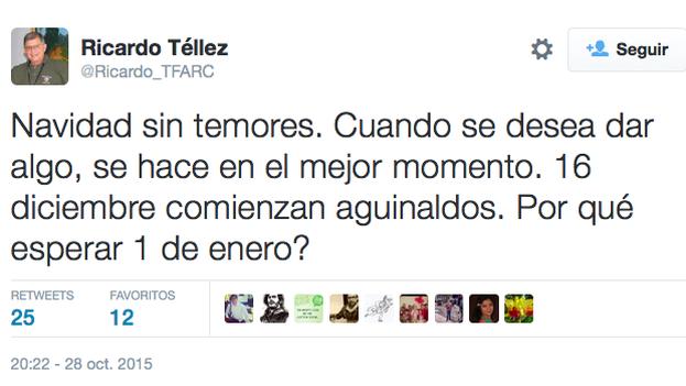 Mensaje en Twitter de Ricardo Téllez pidiendo el adelanto del alto el fuego. (@Ricardo_TFARC)