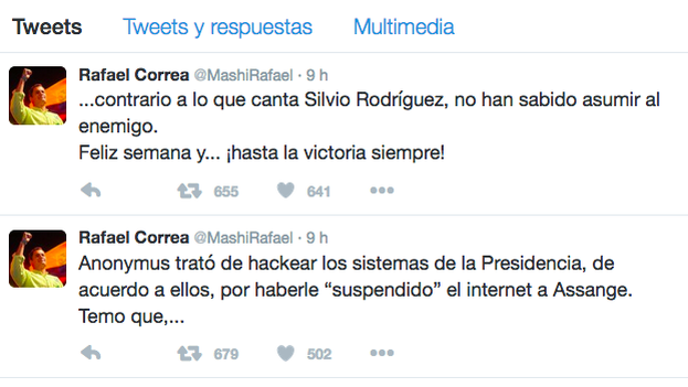 Mensajes de Rafael Correa a Anonymus tras el intento de 'hackeo' de las cuentas de la presidencia ecuatoriana. (Twitter)