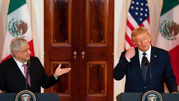 El presidente de México, Andrés Manuel López Obrador, en su encuentro este miércoles con Donald Trump. (EFE)
