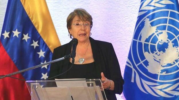 Michelle Bachelet en la rueda de prensa para comentar su informe sobre Venezuela. (UNHumanRights)