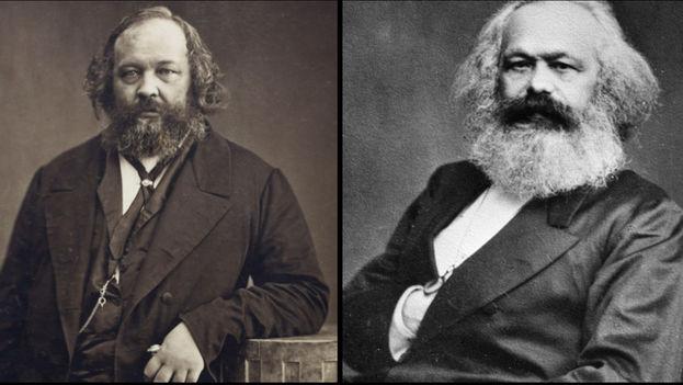 Mijaíl Alexandrovich Bakunin y Karl Marx.