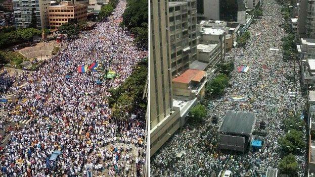 Miles de personas se congregaron en Caracas para exigirle al Gobierno de Nicolás Maduro el revocatorio. (Redes)