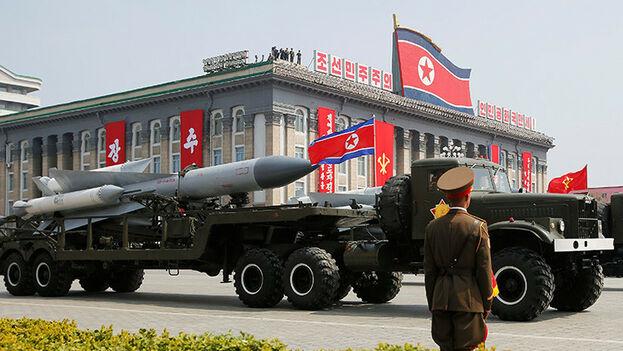 Militares norcoreanos durante un desfile en ese país. (EFE)