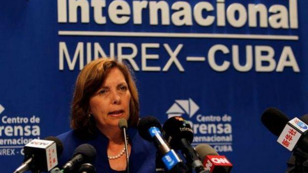Josefina Vidal, directora general para Estados Unidos del Ministerio de Relaciones Exteriores de Cuba, en su conferencia de prensa este miércoles. (EFE/Ernesto Mastrascusa)