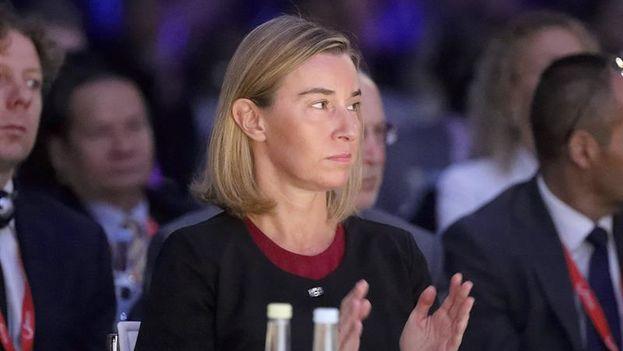 Federica Mogherini, representante de la Unión para Asuntos Exteriores, en octubre pasado durante el Consejo en Luxemburgo donde se abordó la crisis en Venezuela. (EFE)