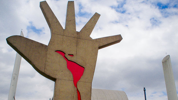 Monumento de América latina un proyecto arquitectónico de Oscar Niemeyer, en São Paulo, Brasil. (Paulisson Miura)