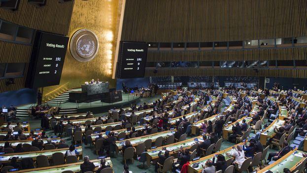 La asamblea de Naciones Unidas sobre el embargo a Cuba, el pasado miércoles. (UN Photo/Amanda Voisard)