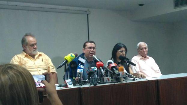 Negal Morales este miércoles en la rueda de prensa sobre las protestas convocadas para el sábado. (@Lionell68)