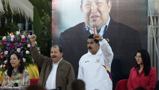 El presidente de Nicaragua, Daniel Ortega, y su homólogo venezolano, Nicolás Maduro, en Managua. (Confidencial)
