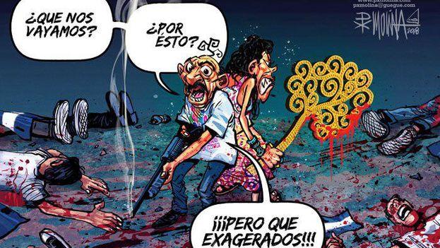 El presidente de Nicaragua, Daniel Ortega, y su esposa, Rosario Murillo, vistos por el caricaturista PX Molina. (Confidencial, Nicaragua)