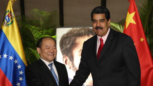 Nicolás Maduro con el vicepresidente de la Comisión Nacional de Reforma China, Ning Jizhe. (@PartidoPSUV)