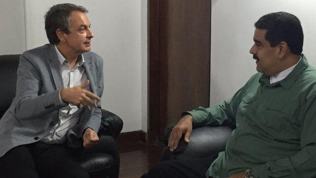 Nicolás Maduro con el expresidente del Gobierno español José Luis Rodríguez Zapatero. (@DrodriguezVen)