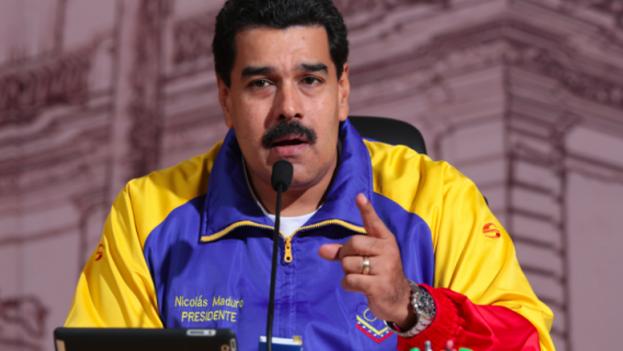 Nicolás Maduro durante su discurso desde el Palacio de Miraflores el 9 de marzo