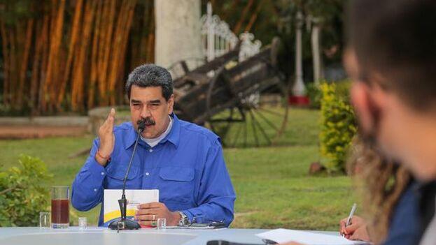 Nicolás Maduro este lunes en un encuentro sobre un programa de retorno juvenil. (@NicolasMaduro)