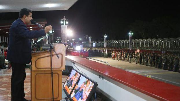 Nicolás Maduro en el reconocimiento a la Milicia Nacional Bolivariana. (PSUV)