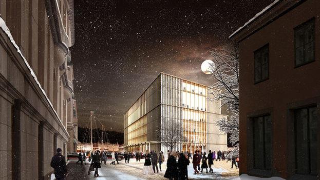 El nuevo proyecto del centro Nobel, visto desde Hovslagargata (David Chipperfield Architects)