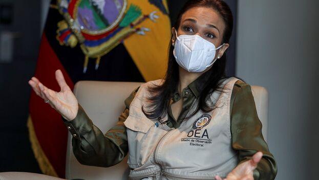 La jefa de la misión de la OEA para las elecciones en Ecuador, la panameña Isabel de Saint Malo. (EFE/José Jácome/Archivo)