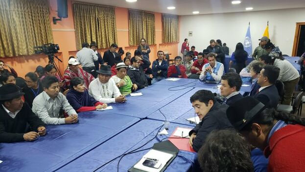 La ONU auspició una mesa técnica con nueve representantes designados por los pueblos y nacionalidades indígenas y seis por el Gobierno. (ONU)