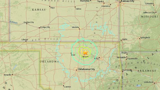 Un terremoto de 5.6 grados de magnitud sacudió a Oklahoma el sábado, 3 de septiembre. (U.S. Geological Survey)
