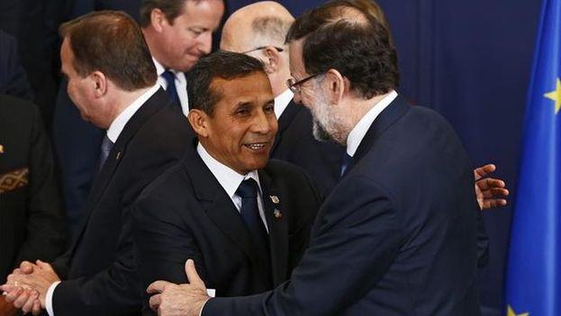 Ollanta Humala y Mariano Rajoy en Bruselas