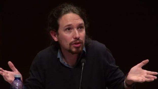 Pablo Iglesias, secretario general de Podemos, este jueves en el acto en la Universidad Complutense. (captura de vídeo)