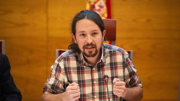 Pablo Iglesias durante su comparecencia esta mañana en el Senado español. (EFE)