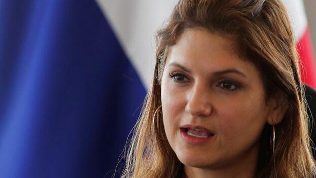 La canciller de Panamá, Erika Mouynes, durante su visita a Washington del lunes y martes. (EFE)