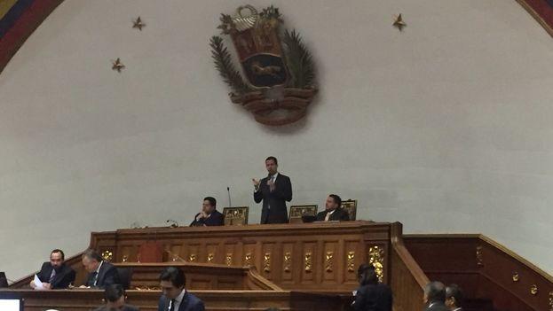 El presidente del Parlamento, Juan Guaidó, abrió la primera sesión del año este martes. (Asamblea Naciona Venezuela)