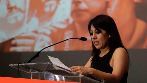 Patricia Espinosa, hermana del periodista asesinado Rubén Espinosa, en la presentación este martes del informe 'Democracia simulada, nada que aplaudir'. (Artículo 19)