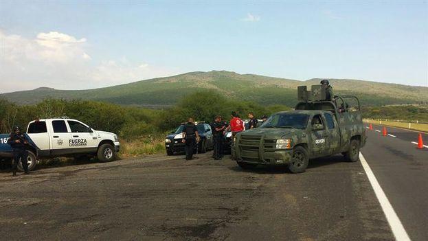 Policías federales custodian el acceso donde se enfrentaron con sicarios este viernes en Tanhuato, Michoacán. (EFE)