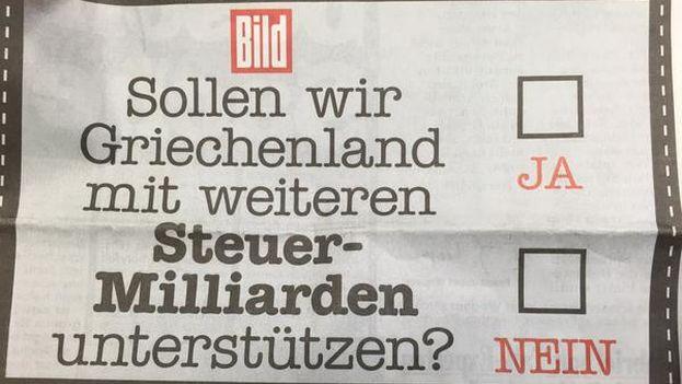 Portada del diario alemán 'Bild' este viernes, dos días antes del referéndum Griego
