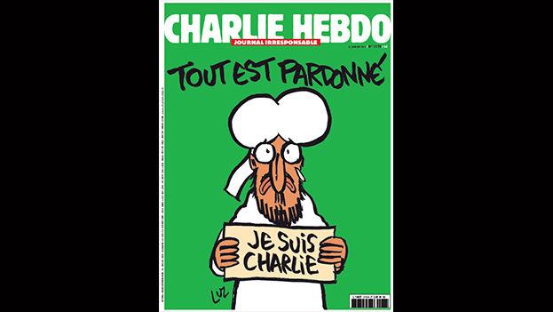 """Portada del primer 'Charlie Hebdo' posterior a los atentados que se publicará el miércoles 13 de enero con una tirada de tres millones de ejemplares. Mahoma sostiene el cartel de apoyo a las víctimas bajo el título: """"Todo perdonado"""""""