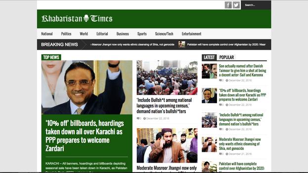 Portada del 'Khabaristan Times' este viernes 23 de diciembre. (Captura)