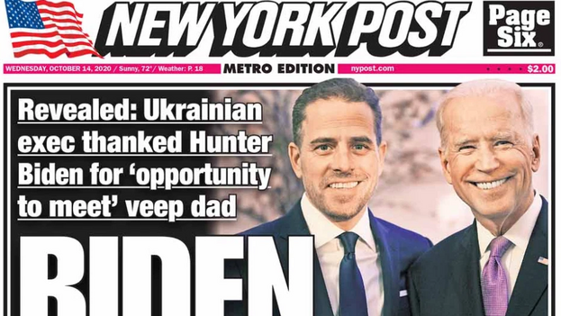 Portada del 'New York Post' con el artículo sobre el hijo de Joe Biden. (Nypost.com)